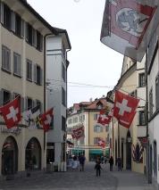 Typical Swiss street, Chur, Poststrasse.